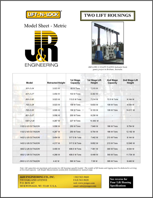 J&R Engineering LIFT-N-LOCK® Hydraulic BOOM Gantry Model Sheet Two Lift Housing (Metric)